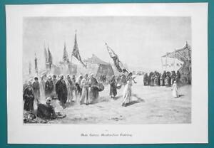 ARAB-Festival-Procession-Desert-VICTORIAN-Era-Engraving-Print