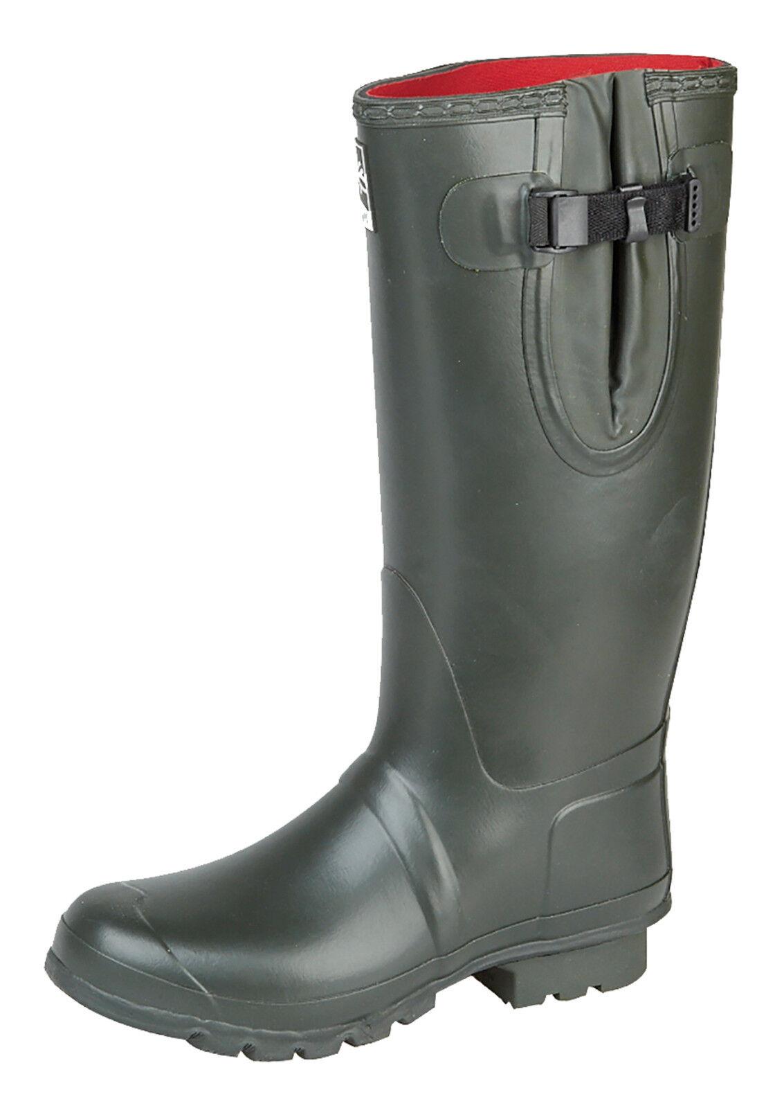 Woodland Neoprene Gusset Wellington Boots Unisex Olive Green Insulated Wellies