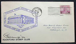 US-Adv-Cover-Rockford-Stamp-Club-Federal-Building-3c-1933-USA-Letter-H-7577