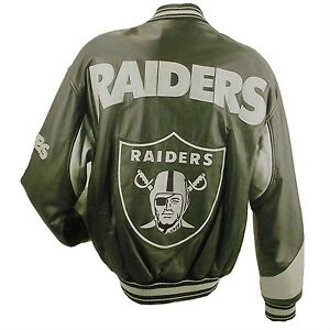the latest 11a68 46aea Details about NFL RAIDERS LEATHER BOMBER JACKET L32440R