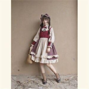 Women-Lolita-Plaid-Dress-Ruffled-Collar-Long-Puff-Sleeve-Fairy-Dolly-Swing-Skirt