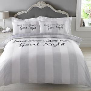 cd92348f5f7 Dreamscene Sweet Dreams Duvet Cover with Pillowcase Stripe Bedding ...
