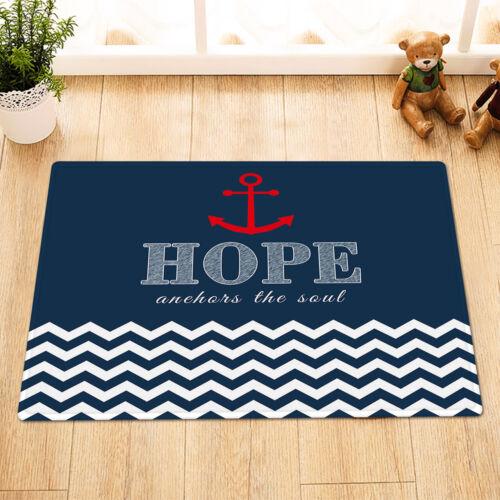 Nautical Anchor Waterproof Shower Curtain Set Blue White Stripes Bathroom Mat