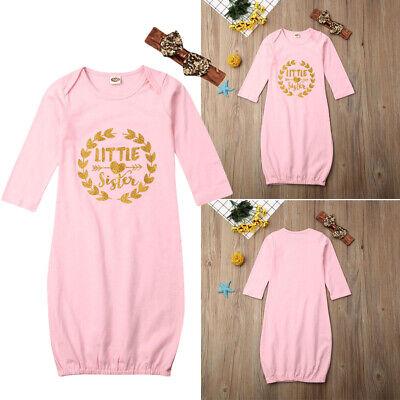 US Newborn Baby Girl Little Sister Princess Romper Babygrow Sleepsuit Outfit Set