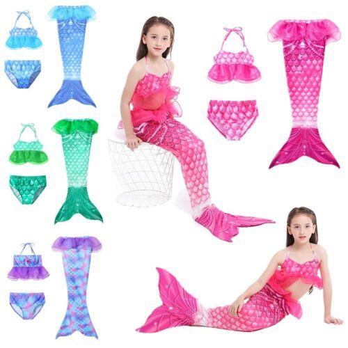 Mermaid Tail Swimmable Swimwear Girls Bikini Set Bathing Suit Beachwear 3PCS