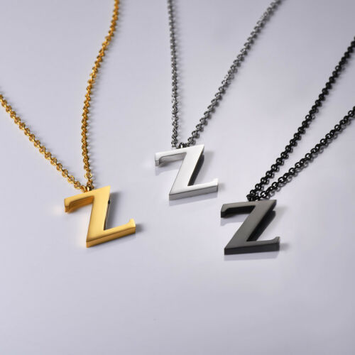 Stainless Steel Initial Alphabet Letter A-Z Necklace Gold Plated Unisex Jewelry