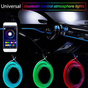 6M-RGB-LED-Neon-EL-Auto-Strip-Leiste-Innenraum-Ambientebeleuchtung-APP-Control