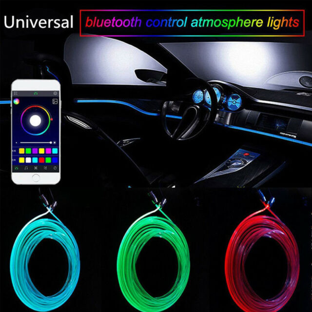 RGB LED Car Interior Neon EL Strip Light Sound Active Bluetooth Phone Control 6M