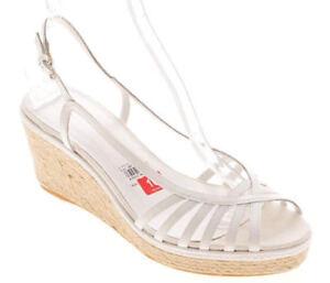 New-ETIENNE-AIGNER-Women-White-Leather-Slingback-Wedge-Open-Toe-Shoe-Sz-10-M