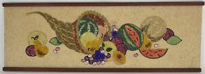 Gravel-Art-Pebble-Mosaic-Cornucopia-Thanksgiving-Harvest-Retro-MCM-Wall-Hanging