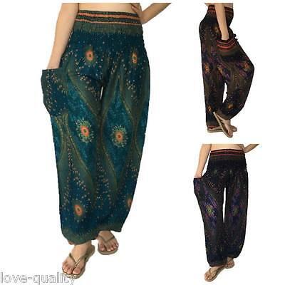 1fa574f7fa8cd1 Details about Peacock Pattern Harem Pants, Baggy One Size Hippie, Boho Yoga  Pants