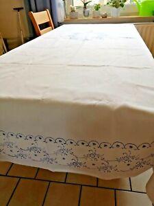 Blaudruck-Tischdecke-alt-Luxemburg-Damast-130-x-190-cm-neu-textile-Kunst