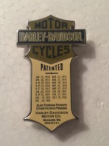 Harley-Davidson-Patented-Enameled-Jacket-Hat-Cap-Pin-Rare-Color-Museum-Edition