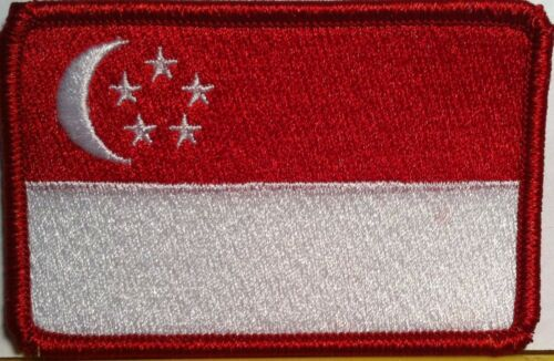 SINGAPORE Flag Patch With VELCRO® Brand Fastener Red Border #02