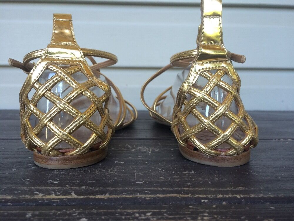 TORY BURCH BURCH BURCH donna BROOKE FLAT GLADIATOR SANDALS METALLIC oro SZ 6.5 NEW   295 e91c64
