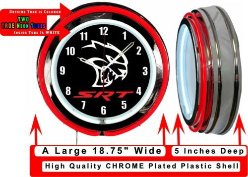 "Dodge SRT Hellcat Black Sign 19/"" Neon Clock Charger Challenger Red Neon 707 HP"