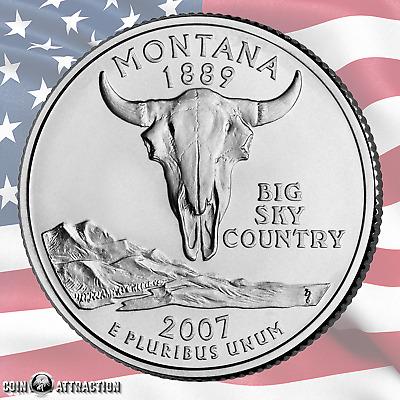 "Mint /""Brilliant Uncirculated/"" 2007 D Montana State Quarter New U.S"