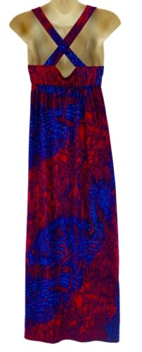 Zomerbaby shower X small Fuchsia Sexy Dames Xs Print blauw Zwangerschapsjurk Maxi aAwfvOfnp