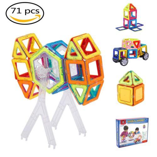 Magnetic Building Blocks Set 3D DIY Building Tiles Construction Playboards 71pcs