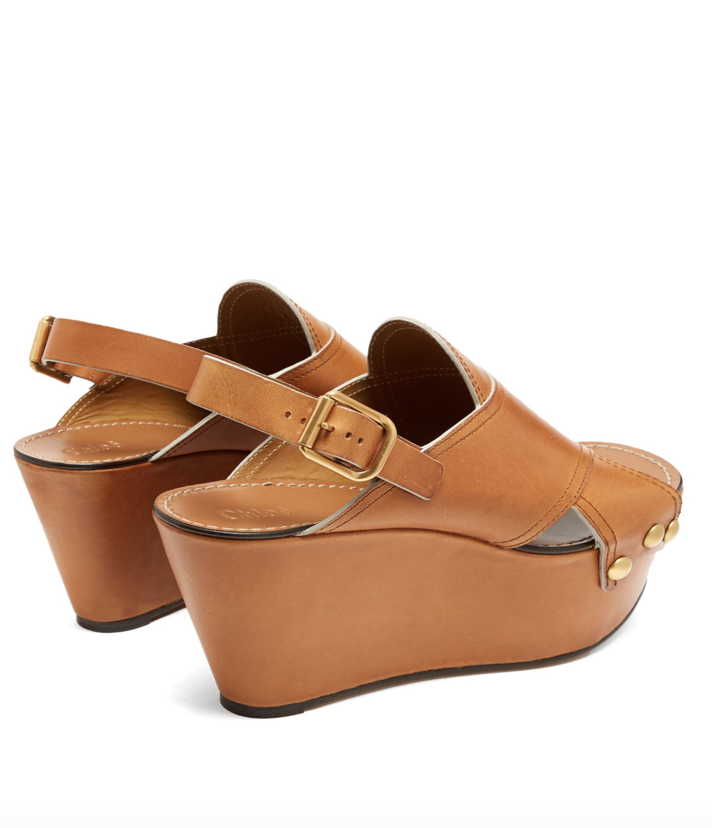 Chloe Mischa Brown Platform Leather Wedges shoes 37 37 37 7 ced7ba