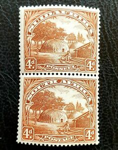 GB-CW-SOUTH-AFRICA-PICTORIAL-1932-SG46-SCOTT-40-VERTICAL-PAIR-UPRIGHT-WM