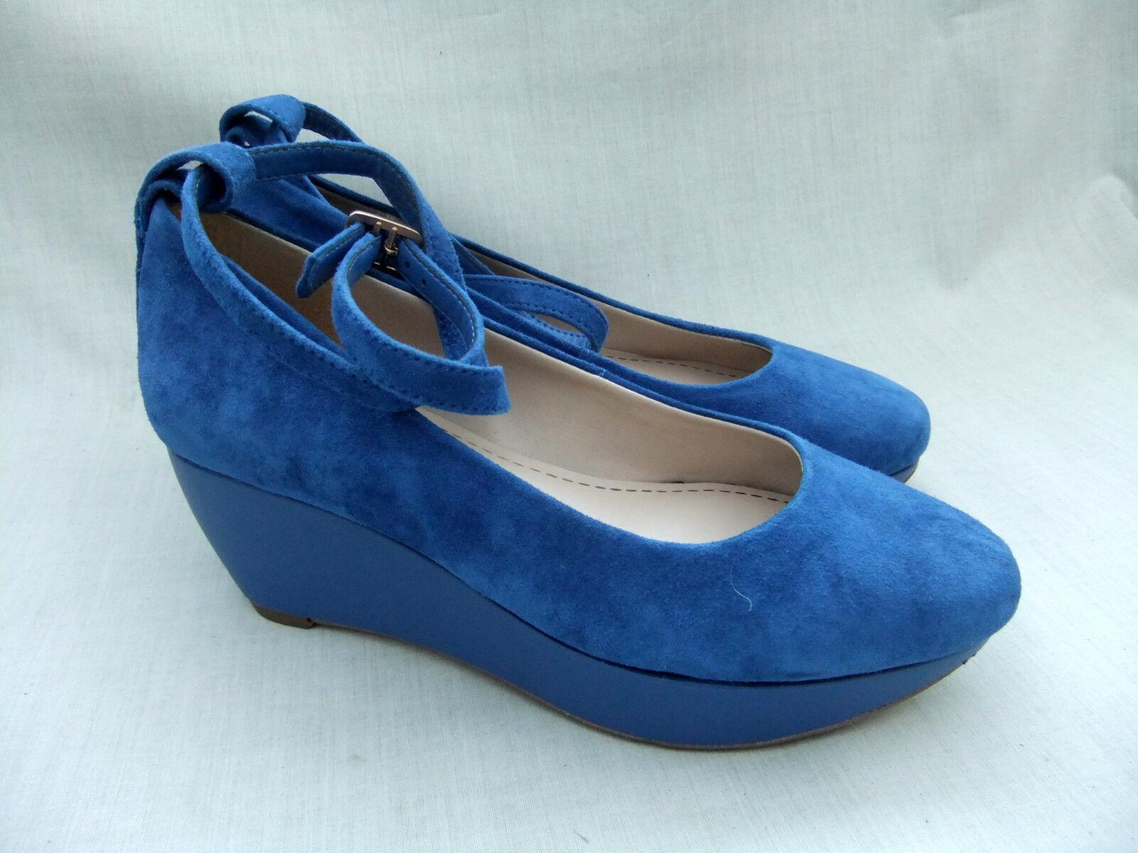 NEW CLARKS EMERY RETRO WOMENS COBALT blueE SUEDE PLATFORM SHOES SIZE 4.5   37.5