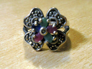 925-STERLING-SILVER-ROUND-RUBY-SAPPHIRE-UNBRAND-MULTI-COLOR-COCKTAIL-RING-7-3-4