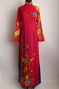 Size L - 3XL Vietnamese Ao Dai Women/'s Long Pink Floral Ao Dai w// Pants
