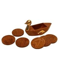 Wooden Duck Shape Coaster Set of 6 Sheesham Wood with Brass inlay Gift Item