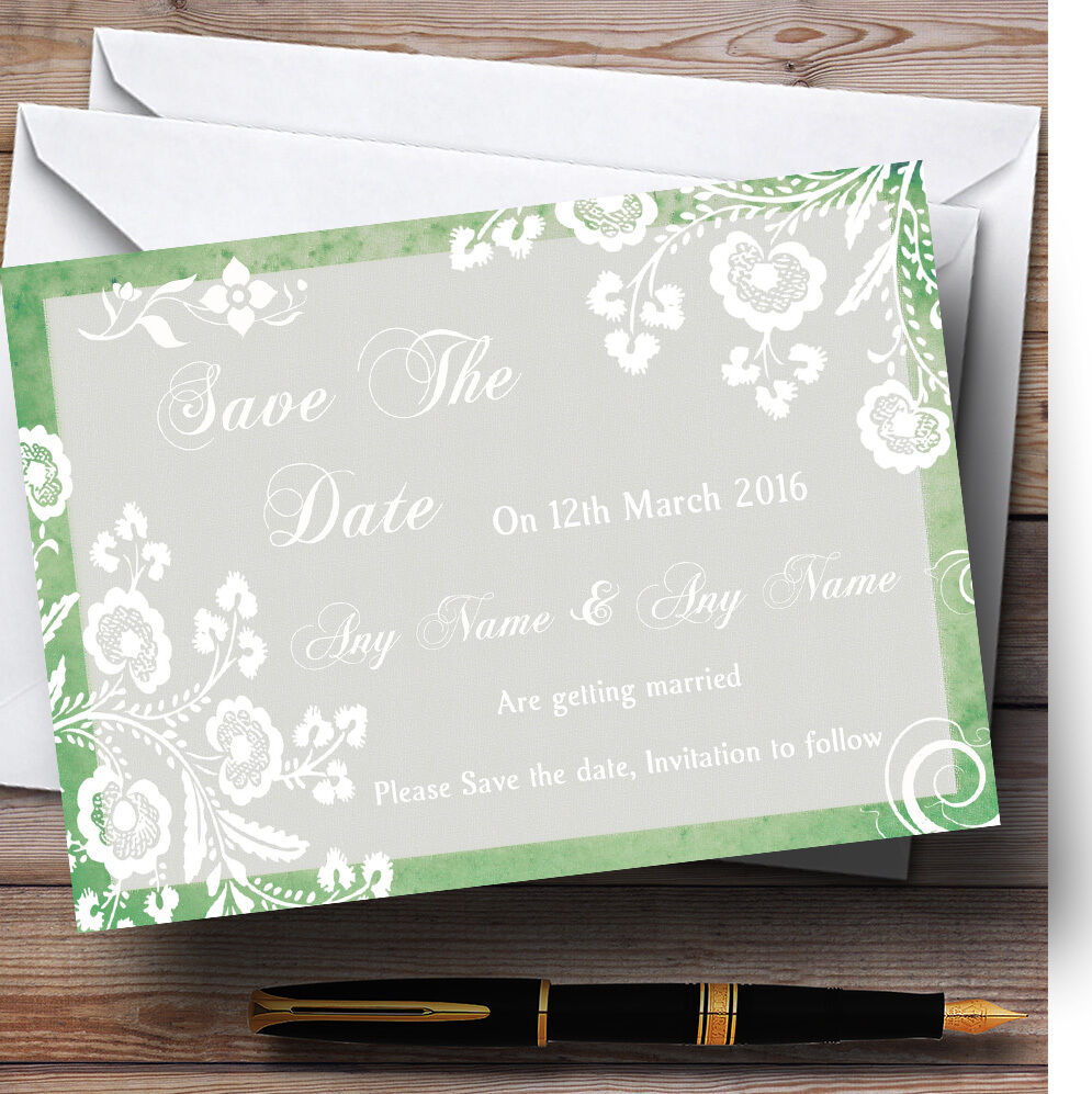Rustic Grün Lace Personalised Wedding Save The Date Cards