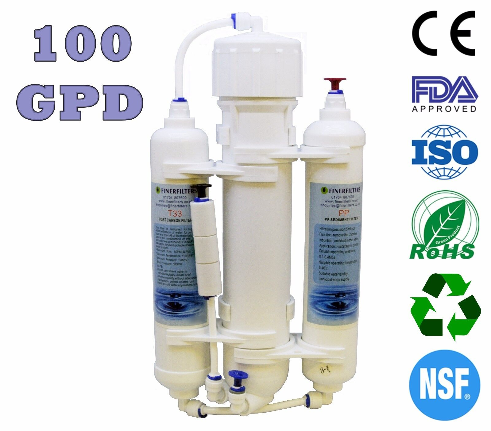 Finerfilters 3 Stage (100GPD) Reverse Osmosis System - RO Unit - Marine Discus