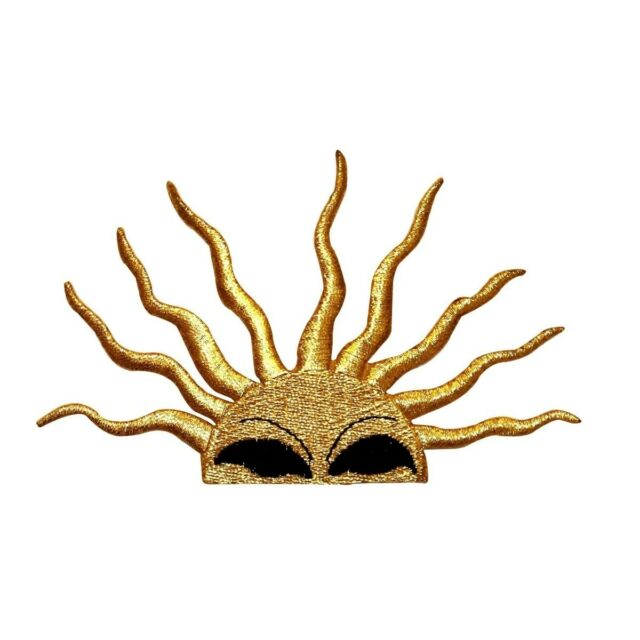 Id 1116 Rising Sun Face Patch Sunshine Symbol Embroidered Iron On
