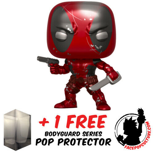 FUNKO POP MARVEL DEADPOOL METALLIC EXCLUSIVE VINYL FIGURE FREE POP PROTECTOR