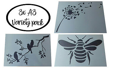 Shabby Chic vintage plastic Stencil sheet A3 bees bee 420x297mm wall art