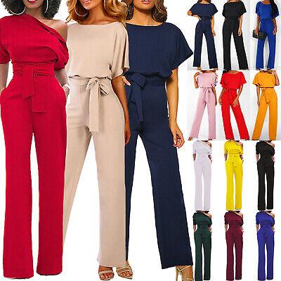 UK Womens Casual Wide Leg Jumpsuit Short Sleeve Evening Party Long Playsuit  6-18 | eBay