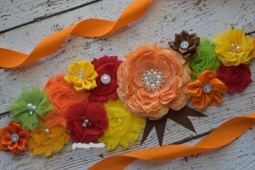 maternity sash Maternity Sash wedding sash Fall Autumn Sash,#3 flower Belt