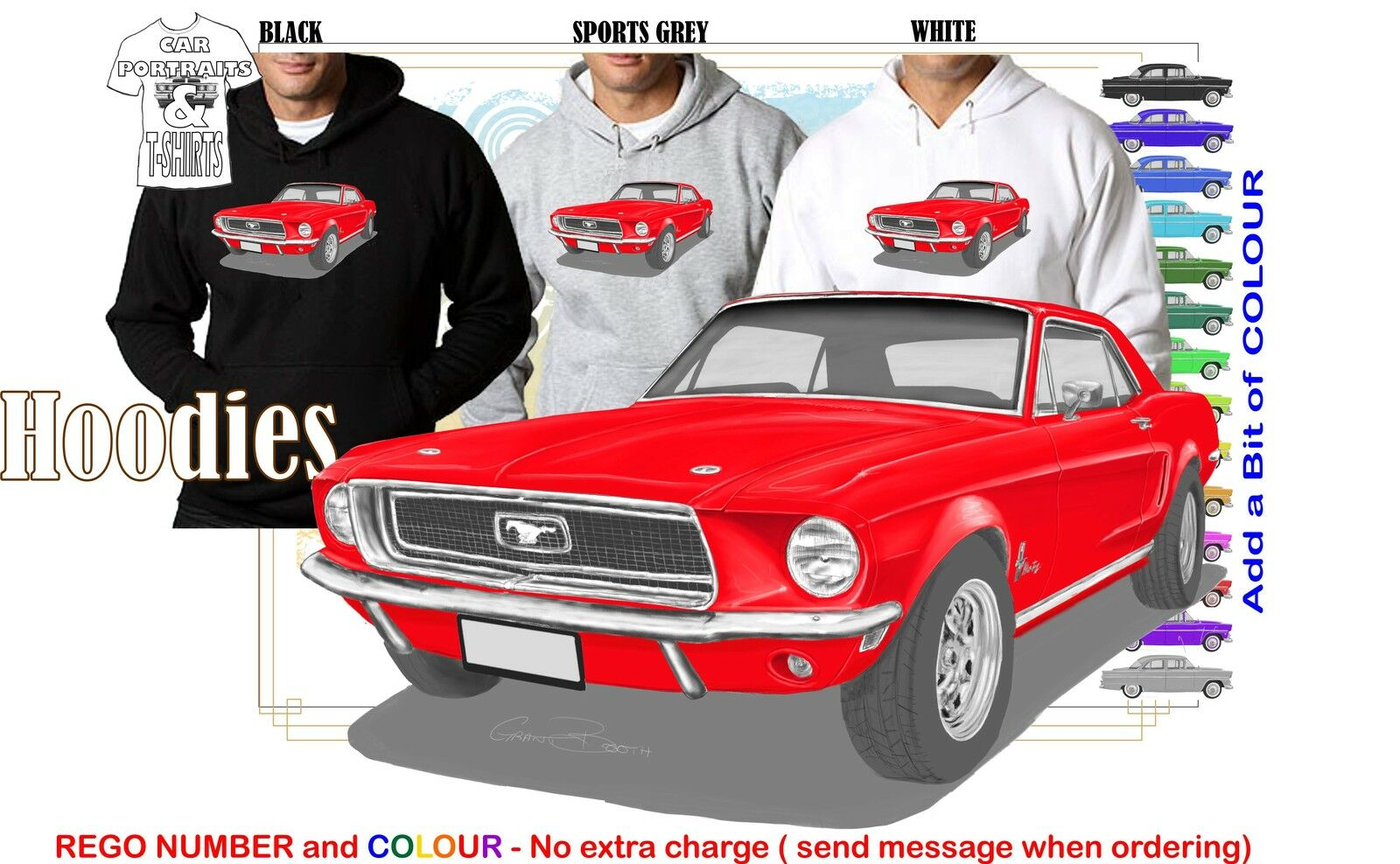 68 MUSTANG COUPE HOODIE ILLUSTRATED CLASSIC RETRO MUSCLE SPORTS CAR