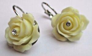 Diligent Boucles D'oreilles Percées Dormeuse Argenté Rose Blanche Cristal Diamant 2270