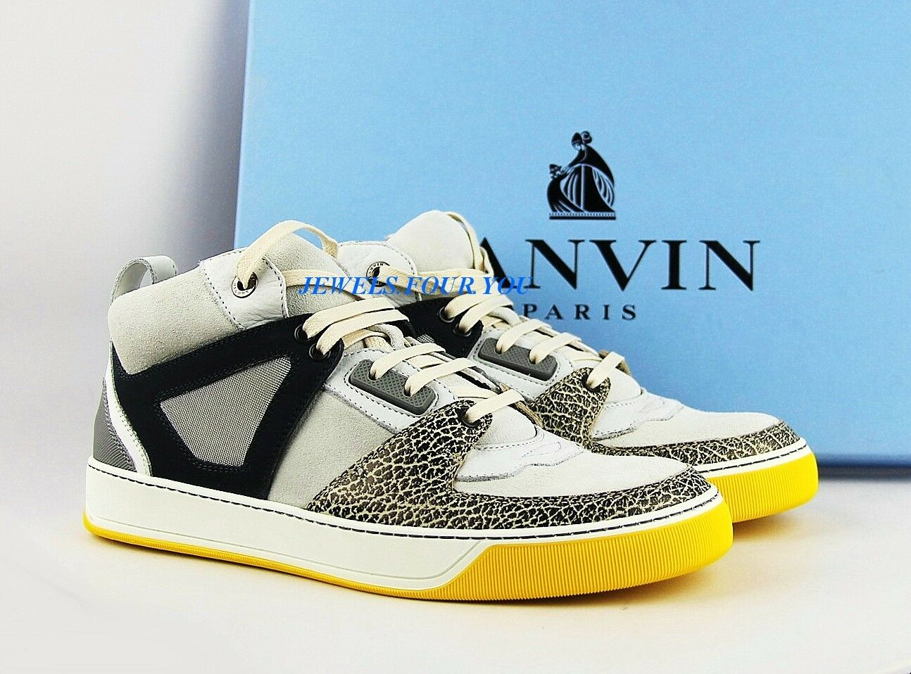 LANVIN WHITE, YELLOW 100% LEATHER RUBBER SOLE SHOES SNEAKERS ITALY NEW BOX