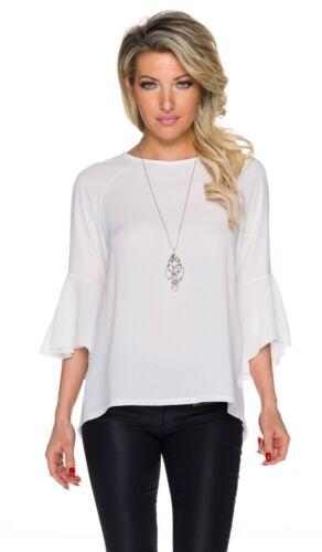 Zarte Bluse mit Tulpenärmeln und Rückenschlitz inklusive Silberkette weiß
