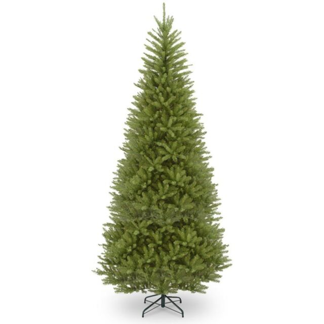 Artificial Christmas Tree Dunhill Fir Slim Hinged Pre-Strung Clear Lights 12 ft.
