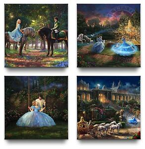 Thomas-Kinkade-Studios-Disney-Cinderella-Gallery-Wrapped-Canvases-Set-of-4