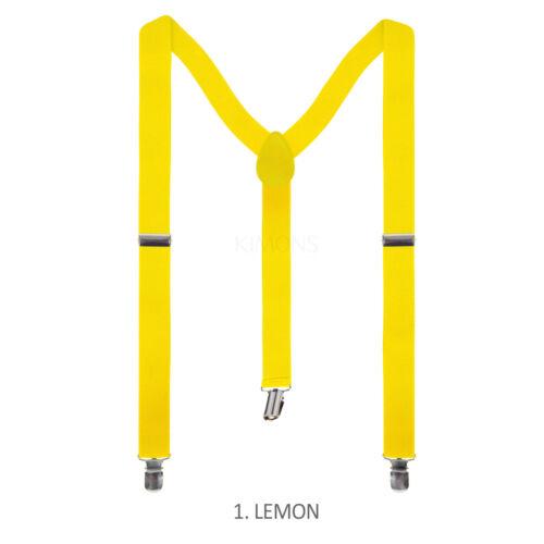 Mens Womens Clip-on Suspenders Elastic Y-Shape Adjustable Braces Solids Black