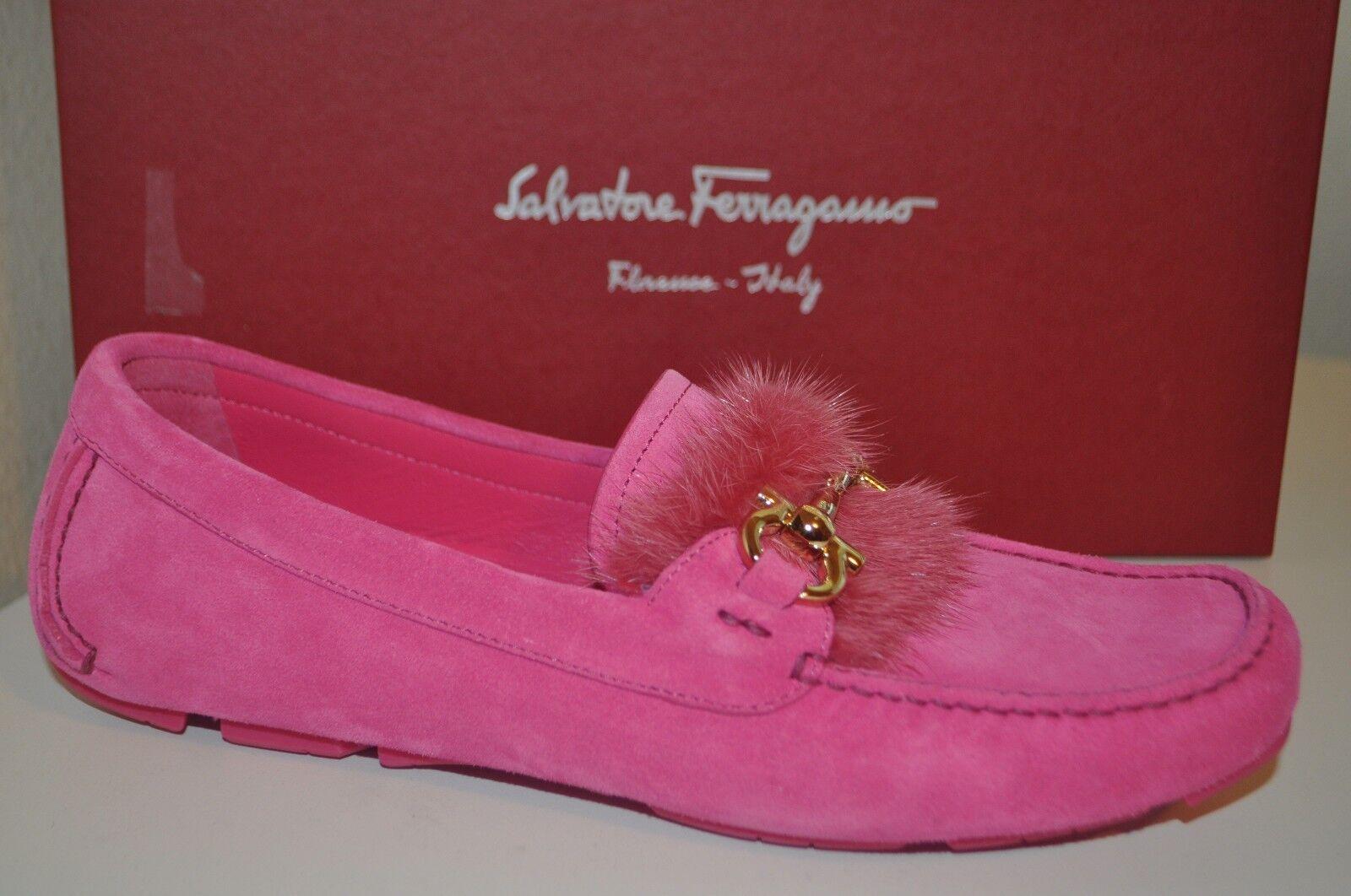 NIB Salvatore Ferragamo PARIGI Genuine Mink Fur Loafer Shoe Suede PINK Sz 8 M