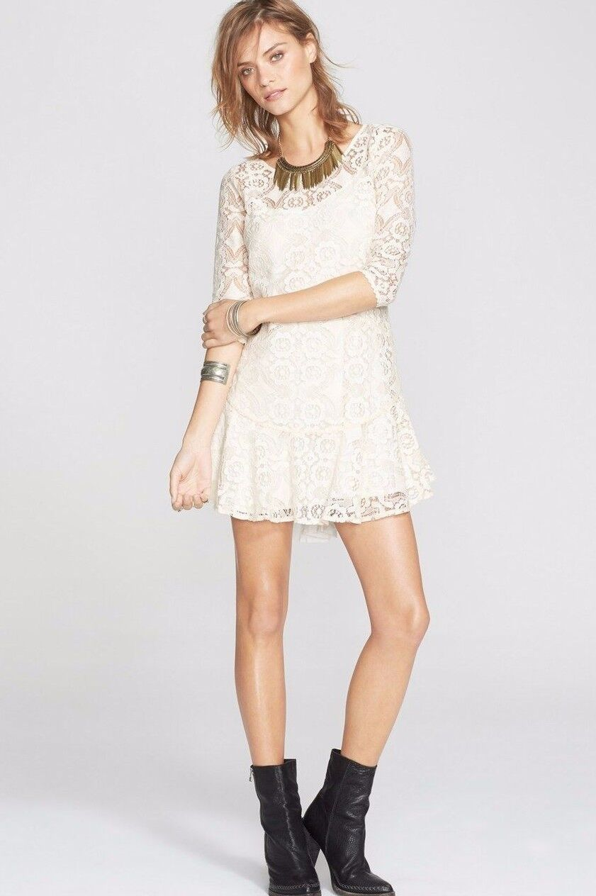 NWT FREE PEOPLE Sz2 WALKING TO THE SUN LACE FIT & FLARE 3 4 SLEEVE DRESS CREAM