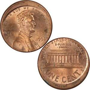 1998 Lincoln Memorial Cent BU Uncirculated Penny 1c Coin Off Center Strike Error