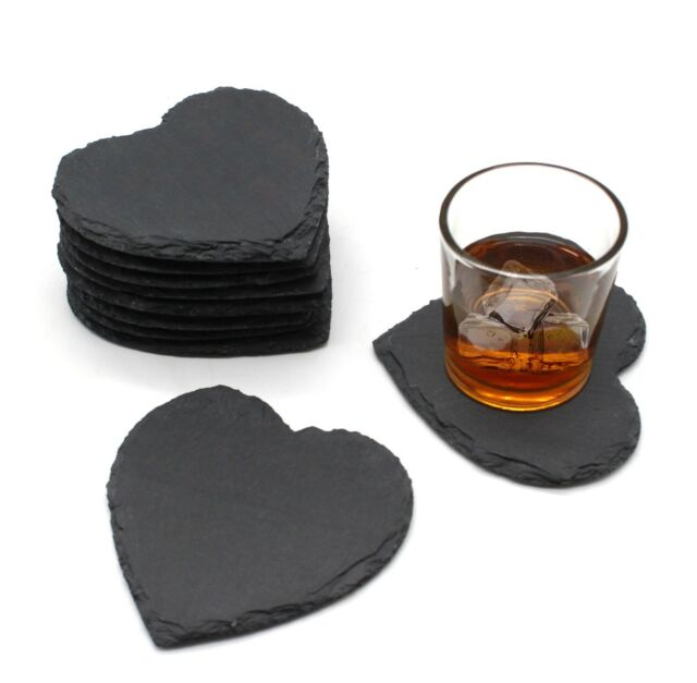 48pcs Rustic Natural Slate Heart CoffeeTable Mug Drink Cup Mat Coaster Bulk Sale