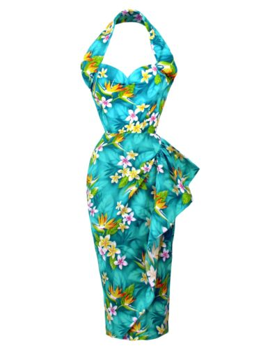 1940s Dresses | 40s Dress, Swing Dress    1940s Style Vivien of Holloway Sarong Dress Bird of Paradise Turquoise Hawaiian £140.00 AT vintagedancer.com