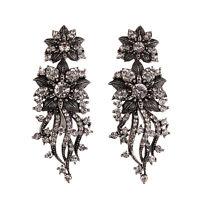 Boucles D`oreilles Clous Arganté Floral Filigrane Pavé Vintage Mariage Xx16