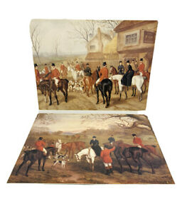 Vintage-Lot-Of-2-Prints-Equestrian-Fox-Hunt-Hunting-Hounds-Horses-Poster